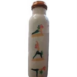 Медная бутылка-термос Йога, белая, 800 мл. - фото 11006