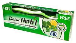 Зубной освежающий гель Dabur Herb'l с лимоном и мятой - фото 6223