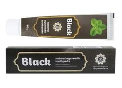 Аюрведическая чёрная зубная паста с древесным углём и каменной солью - фото 6779