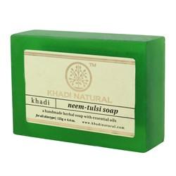 Глицериновое мыло ручной работы KHADI с нимом и тулси - фото 7668